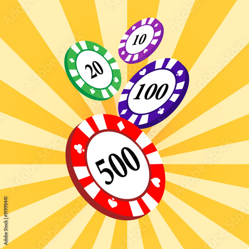 Set of colorful casino chips on a yellow radial background. Poster