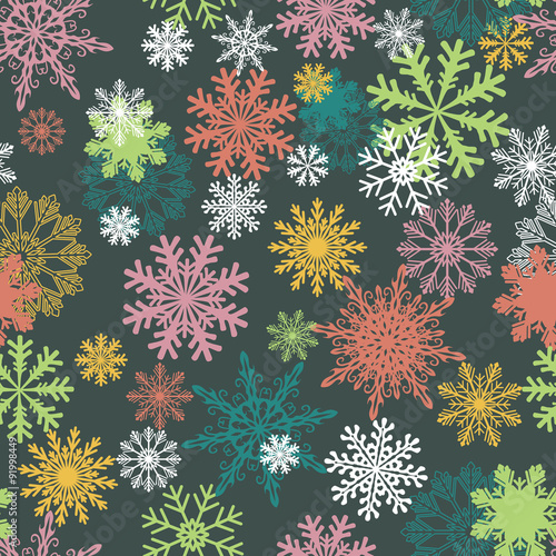 Cotton fabric Seamless winter background with snowflakes. Colorful Christmas pattern.
