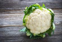 Cauliflower On Wooden Background