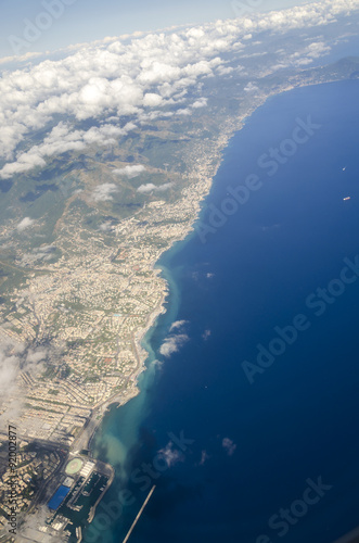 Poster Bordeaux port of Genoa seen from the airplane