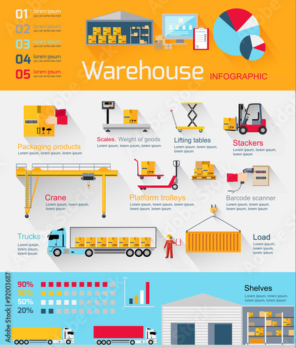 Photo  Concept Infographics Equipment Warehouse