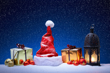 Christmas decoration with snowfall