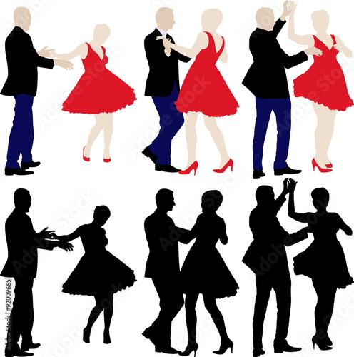 Fotografia  silhouettes of dancers