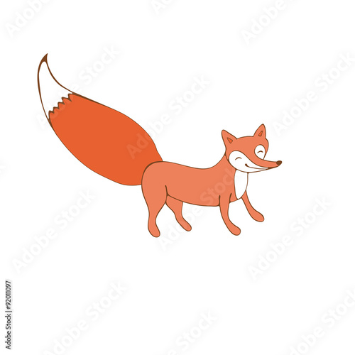 Poster de jardin Chambre bébé Colorful hand drawn illustration of fox character