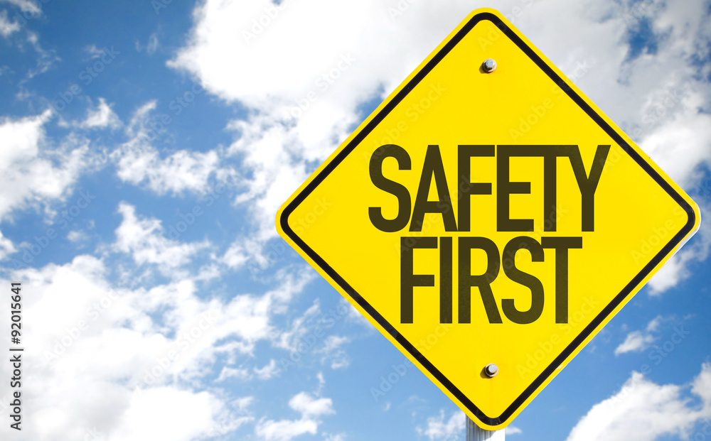 Fototapeta Safety First sign with sky background