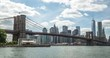 New York City Brooklyn Bridge downtown buildings skyline time-lapse