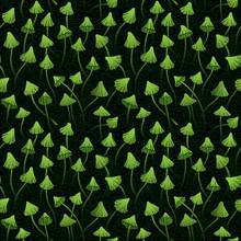 Vector Green Mushrooms Seamless Pattern On A Dark Background.