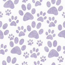 Purple And White Dog Paw Print...