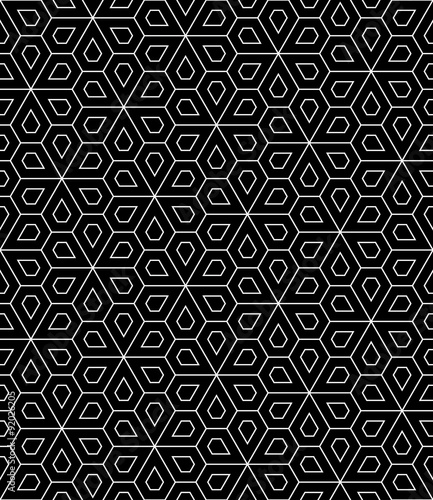 Vector Modern Seamless Geometry Pattern Flower Black And