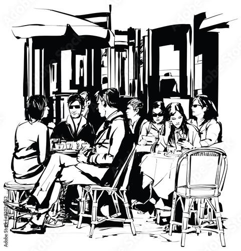 mlodzi-ludzie-na-tarasie-kawiarni-po-pracy-czarno-biala-grafika