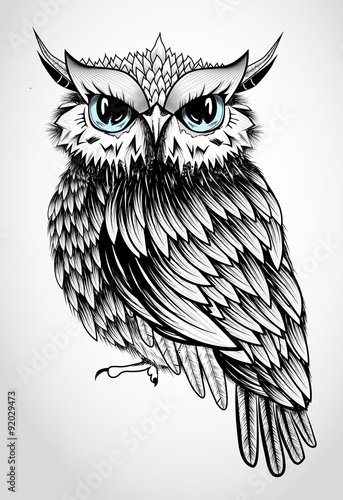 Spoed Foto op Canvas Uilen cartoon Owl Lady - beautiful vector illustration
