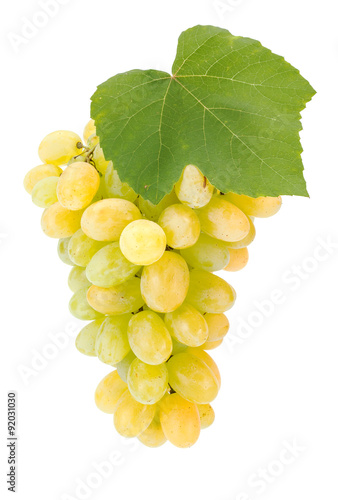 Fotografia, Obraz  White grape cluster with leaf
