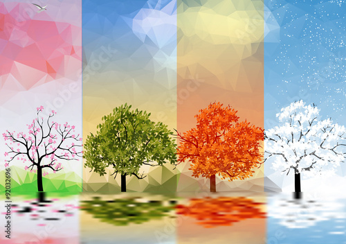 Fotografía  Four Seasons Banners with Trees and Lake Reflection - Vector Illustration