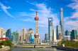 Leinwandbild Motiv Shanghai skyline with historical Waibaidu bridge, China