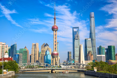 Shanghai skyline with historical Waibaidu bridge, China