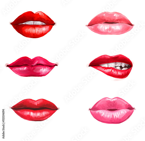 Lips set isolated on white background Poster
