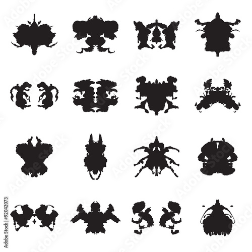 Poster Butterflies in Grunge Collection of Rorschach test inkblots. Vector illustration