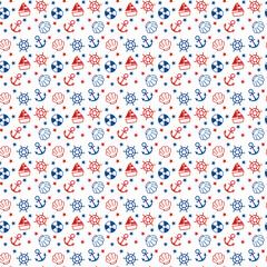 Naklejka Marynistyczny 白・青・赤のマリン柄 シームレスパターン