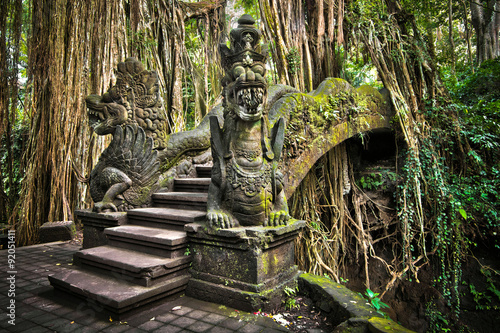 Wall Murals Indonesia Bridge at Monkey Forest Sanctuary in Ubud, Bali, Indonesia