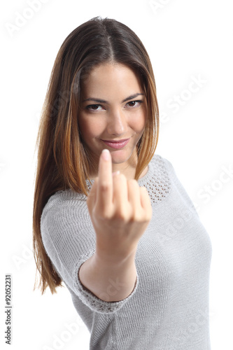 Photo  Woman gesturing come here calling you