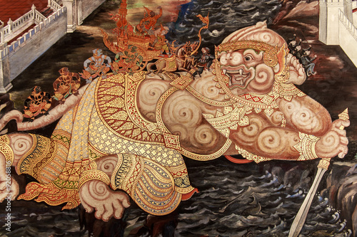 Fototapeta The mural of Ramayana painting on the wall measuring about Ramayana epic folk literature