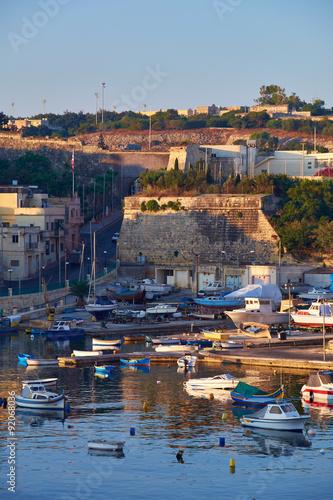 City on the water View on Malta bay between Kalkara and Birgu at early morning