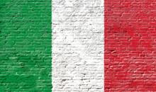 Italy - National Flag On Brick Wall