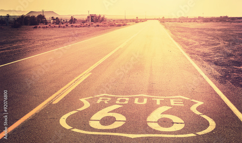 Vintage filtered sunset over Route 66, California, USA. Canvas Print