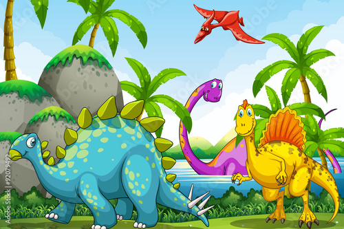Deurstickers Dinosaurs Dinosaurs living in the jungle