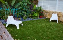 Tropical Garden With Artificial Grass Turf Wood Deck