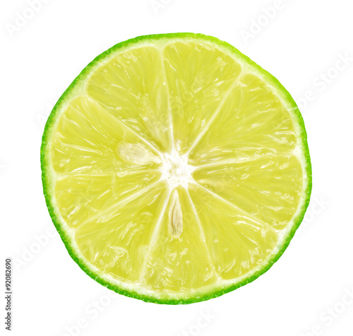 Fotografie, Obraz  Limes with slices on white background