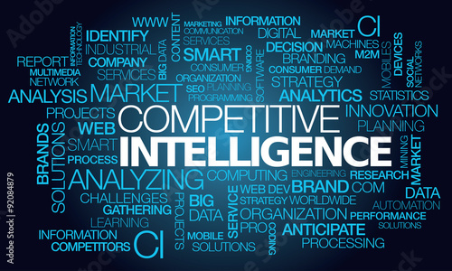 Photo  Competitive intelligence black screen display words text coding program business