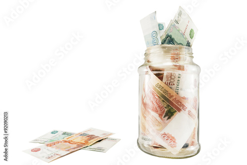Bank With Money Dollars And Euros