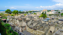 Ruins Of Herculaneum Destroyed By Vesuvius Volcano Are Less Famous Than Ruins Of Pompeii, But Nevertheless They Also Create Compact Area Of Former Buildings Attracting Thousands Of Tourist Every Year
