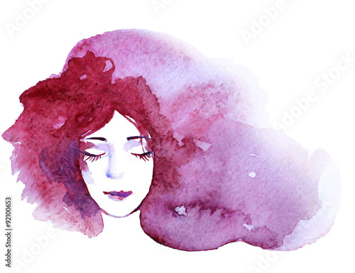 Watercolor portrait of beautiful women with long hair isolated on white. Fashion illustration