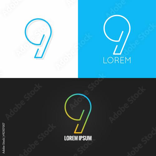 Fotografia  Number nine 9 logo design icon set background