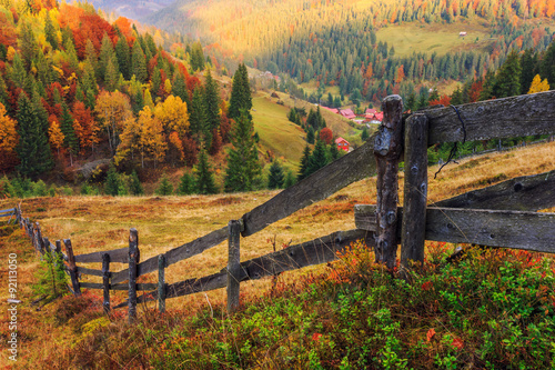 Spoed Foto op Canvas Grijze traf. Colorful autumn landscape scene with fence in Transylvania