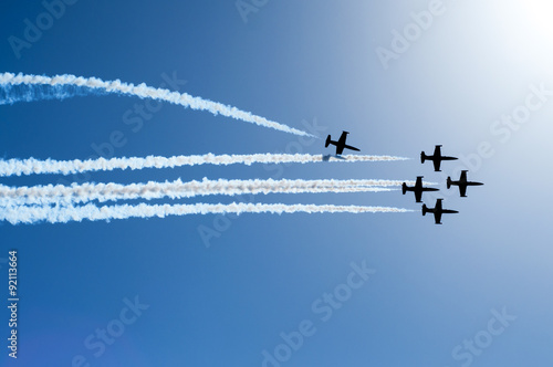 plakat Fighter jets flying in formation