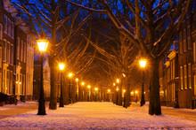 Hooglandsekerkgracht In Leiden At Twilight In Winter With Snow