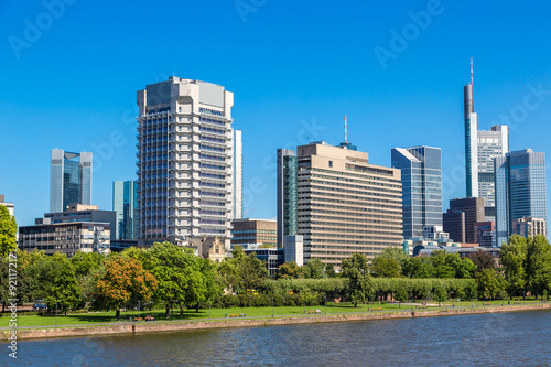 Foto op Aluminium Blauw Financial district in Frankfurt
