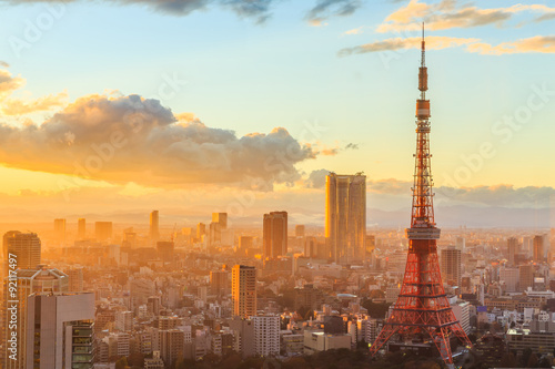 Canvas Print panoramic view of Osaka from the top floor of the highest building