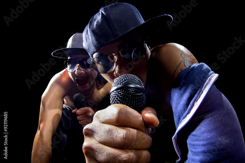 Cuadros en Lienzo Rappers having a hip hop music concert with microphones