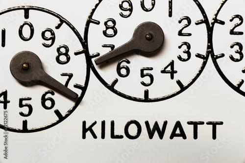 Fotografie, Obraz  Mechanical electric kilowatt hour meter register dials macro image