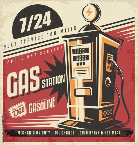 Fotografie, Obraz  Retro poster design for gas pump