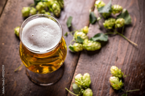 Photo  Beer into glass