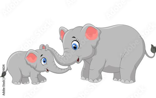 Poster de jardin Zoo Cartoon elephant mother and calf bonding relationship