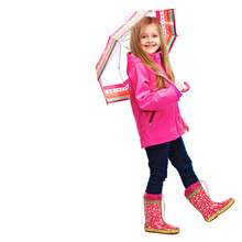 Portrait Of Girl Child Wearing Pink Clothes With Umbrella.