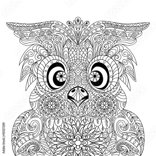 Photo  Owl Portrait mandala zentangle