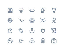Scuba Icons. Line Series