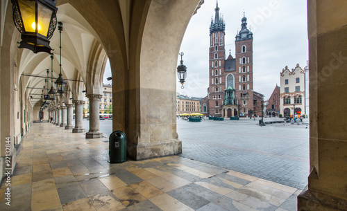 The Cloth Hall and Saint Mary Basilica in Krakow.